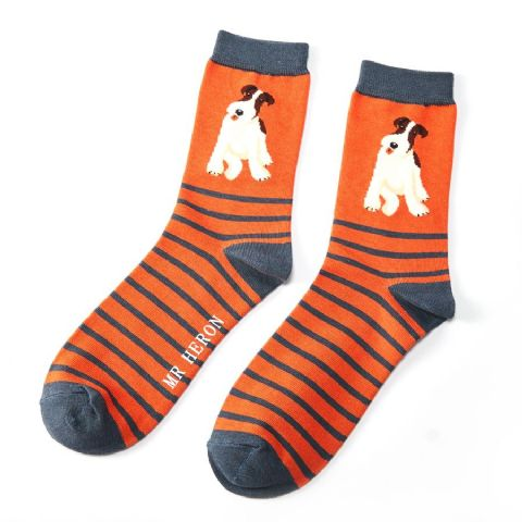 MENS DOG SOCKS ORANGE